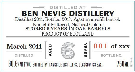 Distiller's Art Ben Nevis 2011 6 Yr Single Malt Scotch