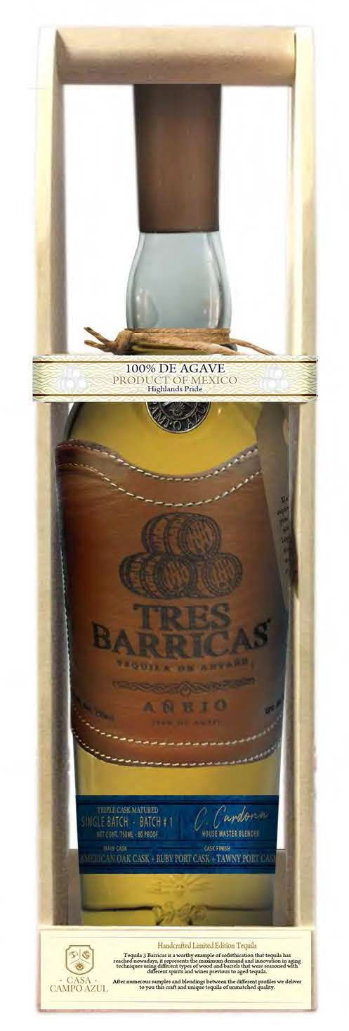 Tres Barricas 100% Agave Anejo Tequila