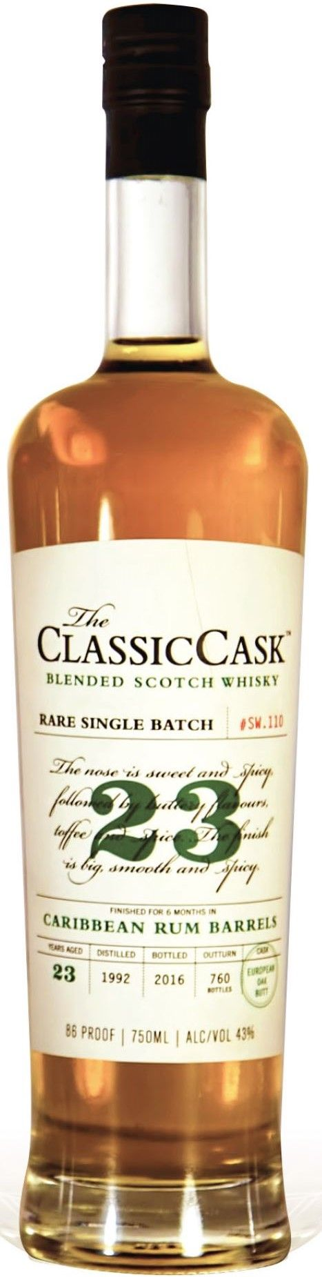 Classic Cask 23 Yr Caribbean Rum Barrel Finished Single Malt Scotch