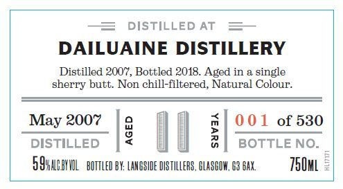 Distiller's Art Dailuaine 2007 11 Yr Single Malt Scotch