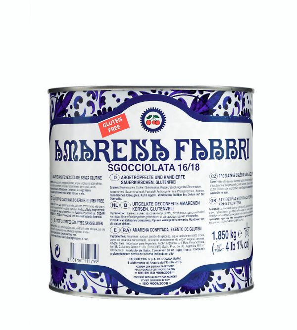 Fabbri Amarena Cherries Drained Tin 65oz